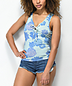 Empyre Leila Succulent Tie Front Green Tank Top