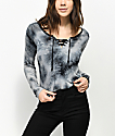 Empyre Lola Lace Up Black Tie Dye Long Sleeve T-Shirt