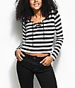 Empyre Lola camiseta de manga larga a rayas en negro y blanco