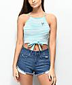 Empyre Maddie camiseta corta sin mangas en azul a rayas