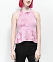 Empyre Mares camiseta corta de cabestro con efecto tie dye rosa