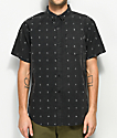 Empyre Ned Black Print Short Sleeve Button Up Shirt
