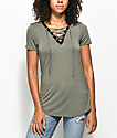 Empyre Page Contrast Olive Lace Up Top