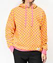 Empyre Pixel Checkered Orange & Pink Hoodie