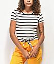 Empyre Raelynn Black & White Stripe Knot Crop Top