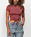 Empyre Raelynn Stripe Red Knot Front Crop T-Shirt