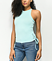Empyre Rinker Tie Side Aqua Crop Tank Top