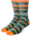 Empyre Run It Green & Orange Camo Crew Socks