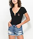 Empyre Sacha Rose Zip Up Black T-Shirt