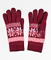 Empyre Sasha guantes de chenilla  de color borgoña y rosa