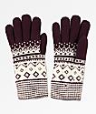 Empyre Sasha guantes de chenilla borgoña y blanca