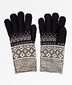 Empyre Sasha guantes de chenilla negra, gris y blanca