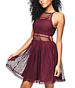 Empyre Sheeta vestido de malla en color vino