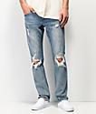 Empyre Skeletor Cirrus Medium Blue Ripped Skinny Jeans