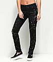 Empyre Tessa Distressed Black Bleach Splatter Skinny Jeans