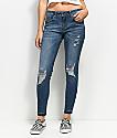 Empyre Tessa Medium Wash Distressed Raw Hem Skinny Jeans