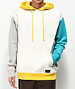 Empyre Thrice Cream, Teal, Grey & Yellow Hoodie