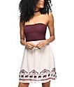 Empyre Vita vestido sin tirantes en colores crema y vino