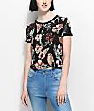 Empyre camiseta ringer de terciopelo en floral y negro