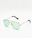 Empyre gafas de sol estilo aviador en verde y plata