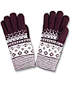 Empyre guantes de chenille en color vino