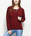 Ethos Carlee suéter con cordones en color borgoño