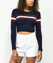Ethos Rory Striped Navy Cropped Sweater