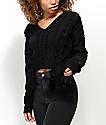 Ethos Sandi Laced Black Crop Sweater