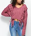 Ethos Sandi Laced Pink Crop Sweater