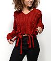 Ethos Sandi suéter corto con cordones en rojo