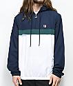 FILA Cipolla chaqueta con media cremallera en blanco y azul marino