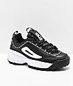 FILA Disruptor II Premium zapatos de cuero blanco y negro