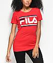 FILA Double Stripe Logo camiseta roja