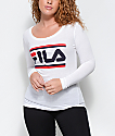 FILA Double Stripe camiseta blanca de manga larga