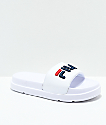 FILA Drifter Bold White, Navy and Red Slide Sandals