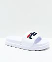 FILA Drifter Bold White, Navy and Red Slide Sandals
