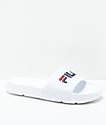 FILA Drifter Slide sandalias en blanco, rojo, y azul marino
