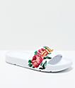 FILA Drifter sandalias blancas con bordado de rosa para mujeres