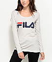 FILA Logo Long Sleeve Light Grey T-Shirt