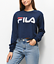 FILA Logo Navy Long Sleeve Crop T-Shirt