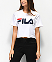 FILA Logo White Crop T-Shirt