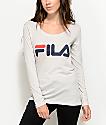 FILA Logo camiseta de manga larga en gris claro
