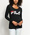FILA Logo camiseta negra de manga larga