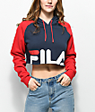 FILA Luciana Navy & Red Crop Hoodie