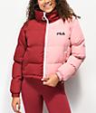 FILA Martina Red & Pink Snap Sleeve Puffer Jacket