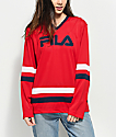FILA Tanya Red Mesh Long Sleeve Hockey Jersey