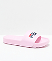FILA Womens Drifter Pink, Navy & Red Slide Sandals