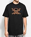 Fourstar Skate Pirate camiseta negra y color naranja