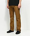 Free World Night Train pantalones de tela asargada en color tabaco