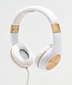 Gabba Goods Sleek Sounds auriculares con cable en blanco y oro